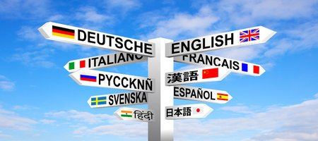 46065517 - multilingual languages and flags sign post against blue sky